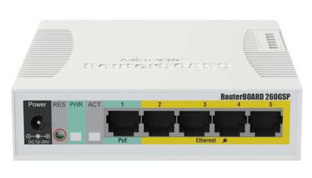 MIKROTIK SWITCH POE CSS106-1G-4P-1S (RB260GSP) SIN FUENTE